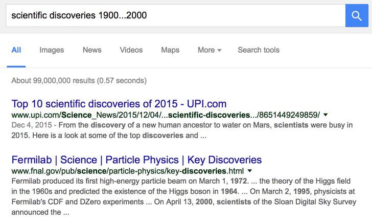 google search Using a time frame