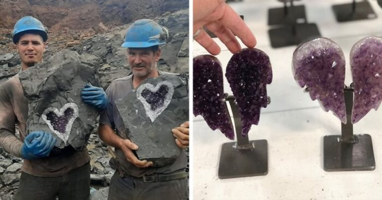 Miners In Uruguay Get Astonished With A Stunning Heart-Shaped Amethyst Geode