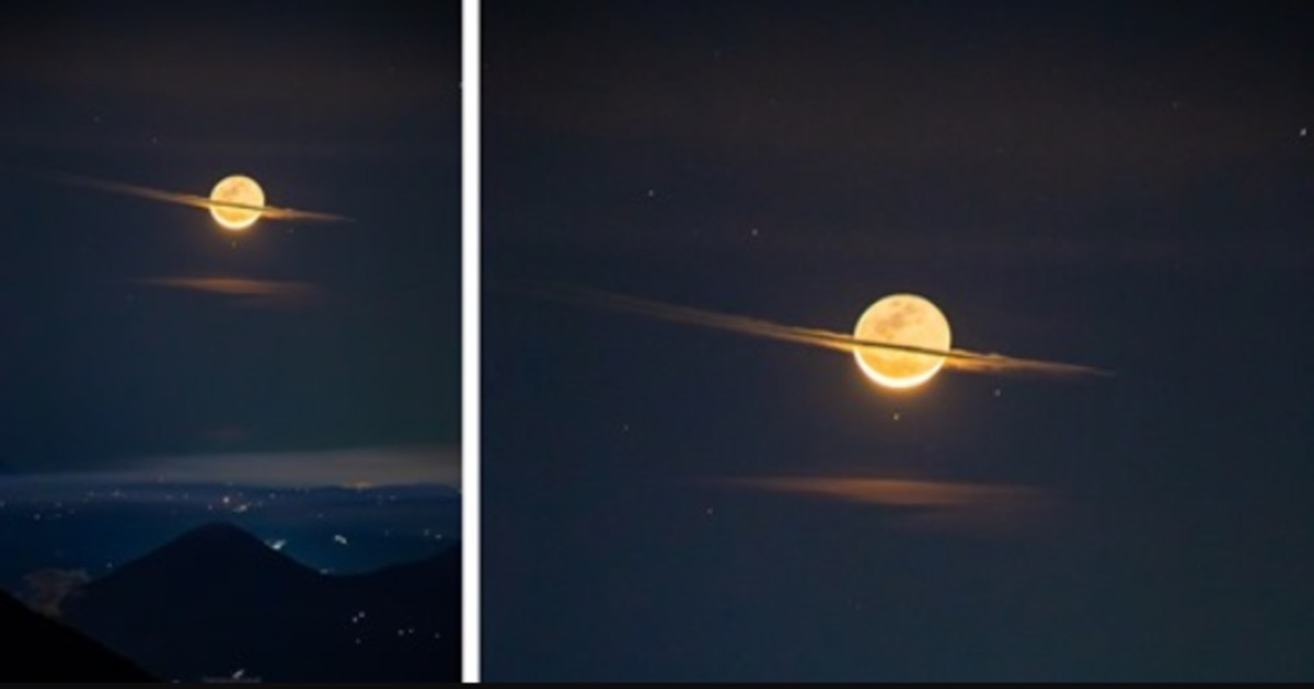 Photographer Captures Extremely Rare Shot Of The Moon Looking Like Saturn