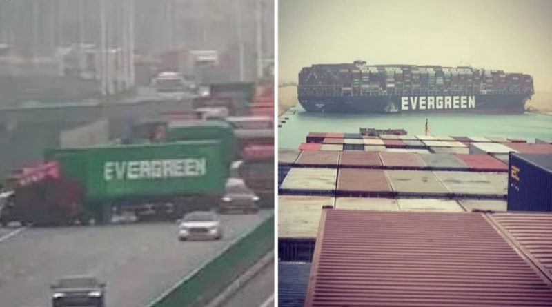 Truck Named Evergreen Blocks Highway Resembling Suez Canal Situation
