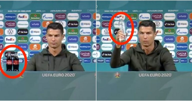 Cristiano Ronaldo Replaces Two Coca-Cola Bottles With Water At Euro 2020 Press Conference