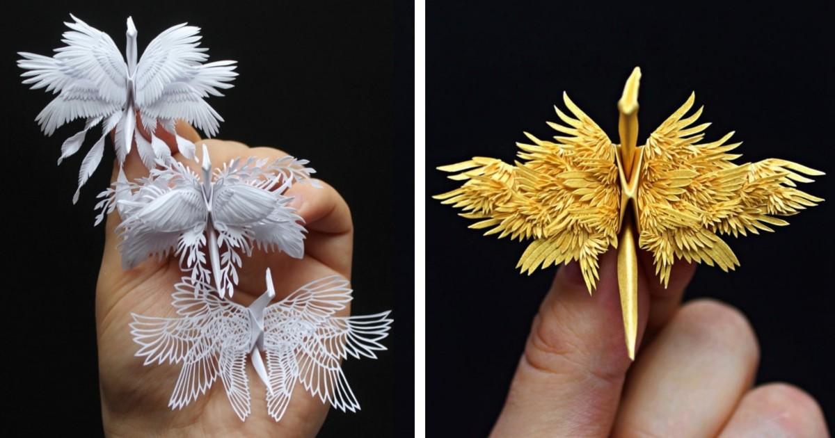 Artist Creates Incredible Paper Cranes With Feathery Details