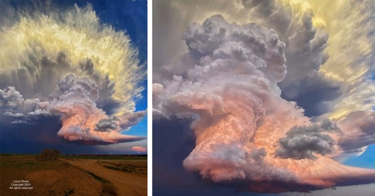 Storm Cloud That Looks Like A Fiery Explosion Captured By An Amateur Photographer