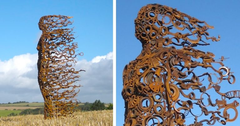 Figures Made Of Discarded Machine Parts Depict Raw Human Emotions
