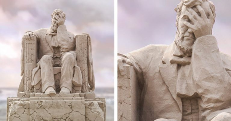 This Enormous Sand Sculpture Of The Lincoln Memorial Has A Crumbling Base