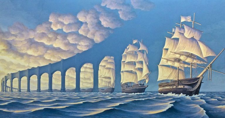 Incredible Optical Illusion Illustrations Connect Two Surreal Scenes Together